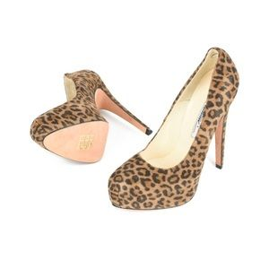 Brian Atwood Leopard Print Suede Pumps Size 9.5